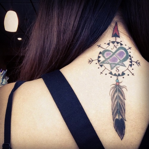 compass tattoo neck