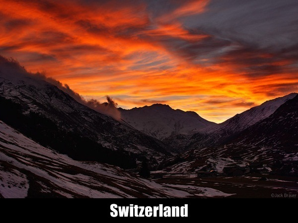 A brilliant sunset seen from Andermatt - November.